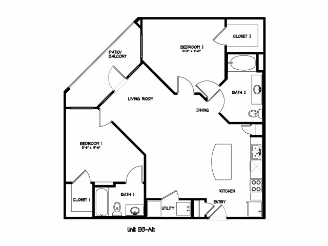 1,056 sq. ft. B3M floor plan