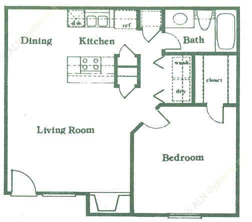 672 sq. ft. A3 floor plan