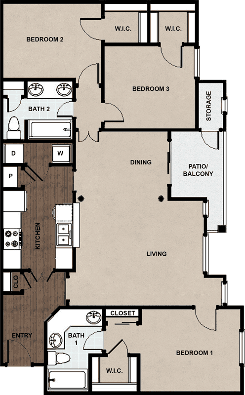 1,388 sq. ft. C floor plan