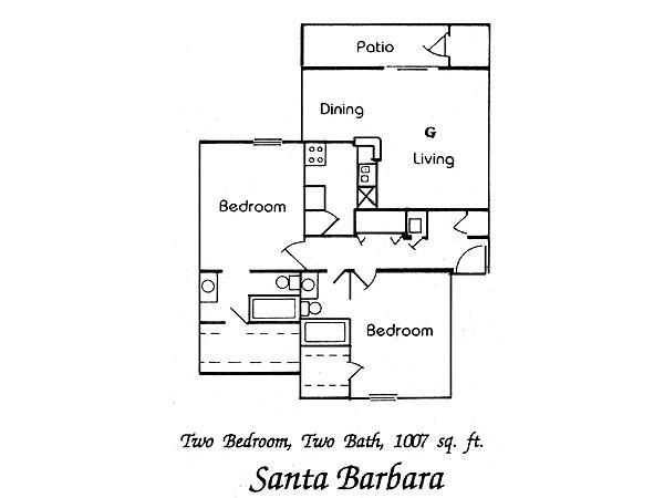 1,007 sq. ft. Santa Barbara floor plan