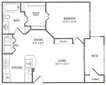 737 sq. ft. Foxtail floor plan