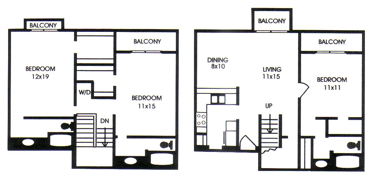 1,354 sq. ft. J floor plan