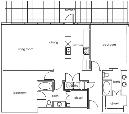 1,322 sq. ft. 1407 A floor plan
