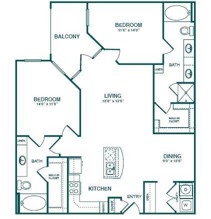 1,206 sq. ft. C2 floor plan