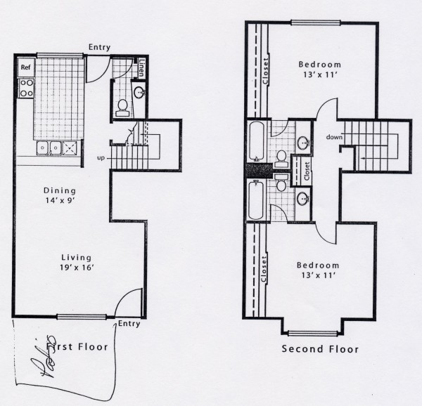 1,124 sq. ft. B2GS floor plan