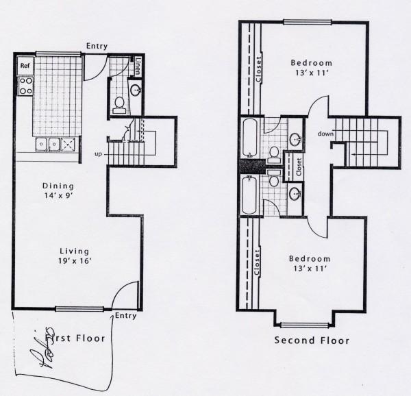 1,124 sq. ft. B2GS floor plan