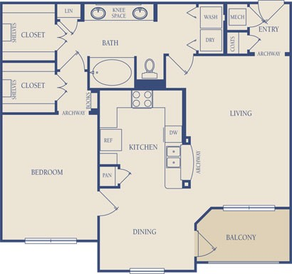 951 sq. ft. A2 floor plan