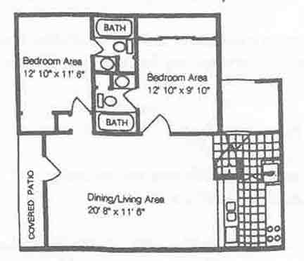 788 sq. ft. B3/50% floor plan
