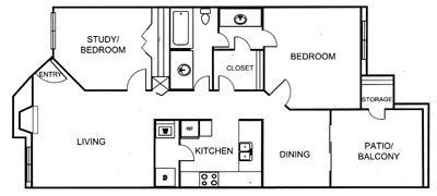 905 sq. ft. B floor plan