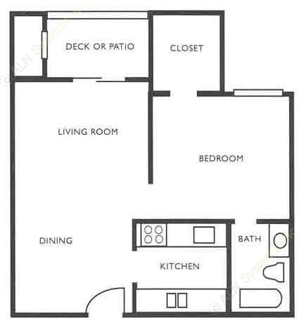 579 sq. ft. A3 floor plan