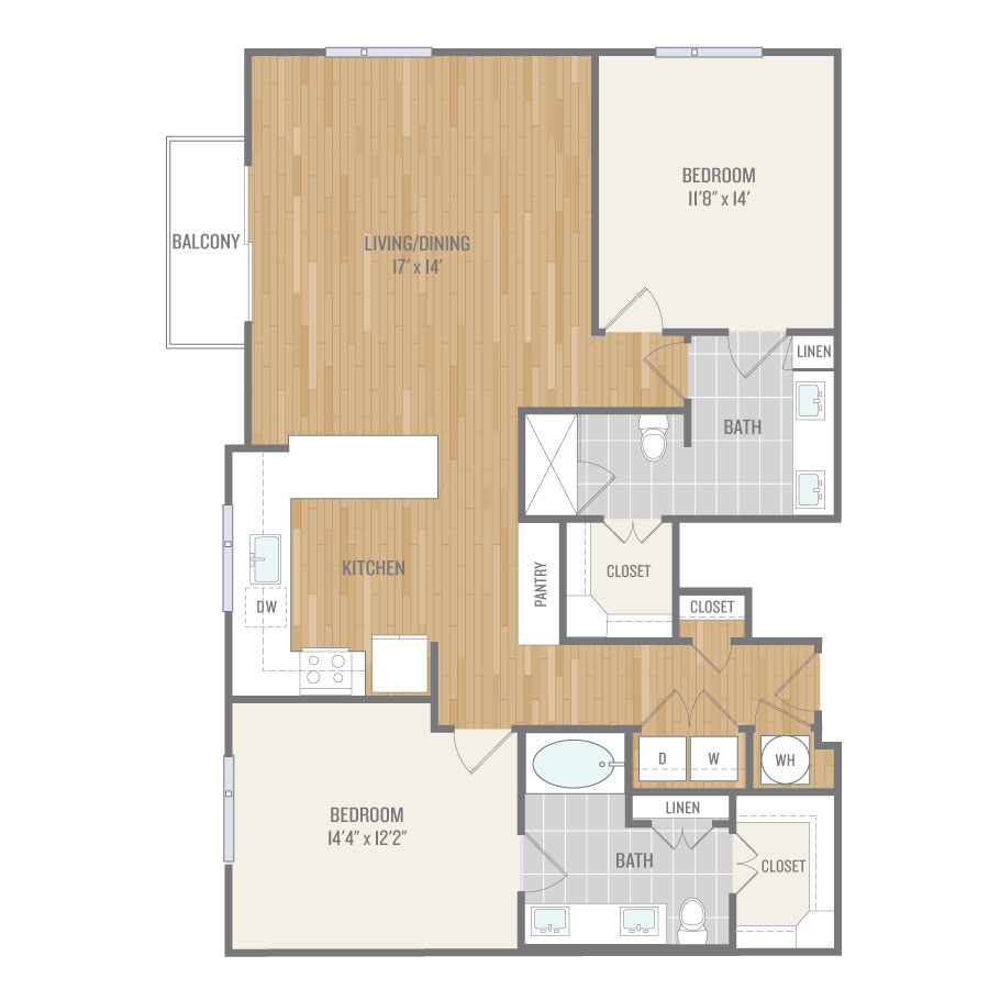 1,350 sq. ft. B5 floor plan