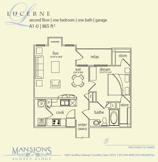 865 sq. ft. Lucerne floor plan