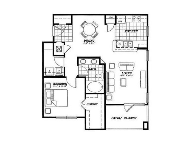 889 sq. ft. A2 floor plan