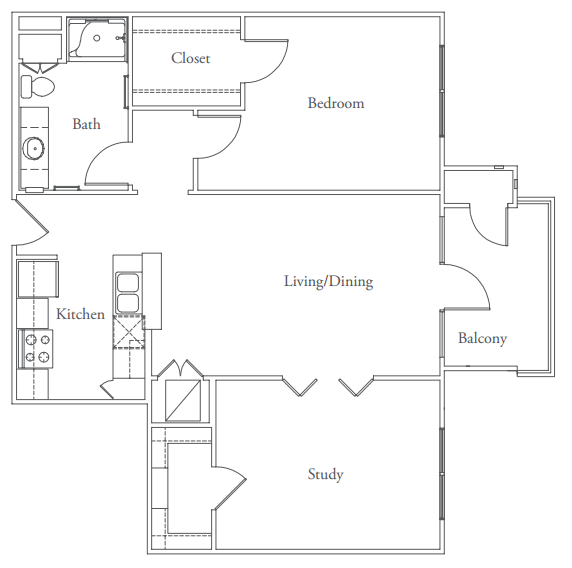 955 sq. ft. Rollingwood floor plan