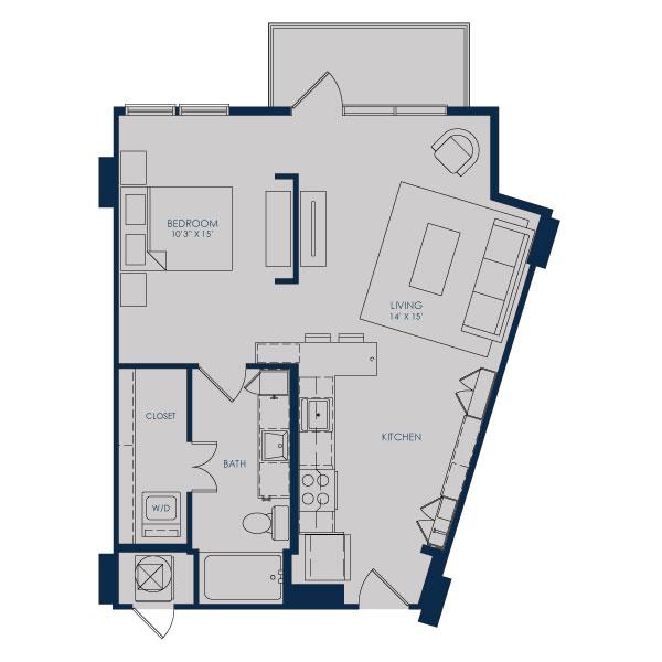 684 sq. ft. S18D floor plan