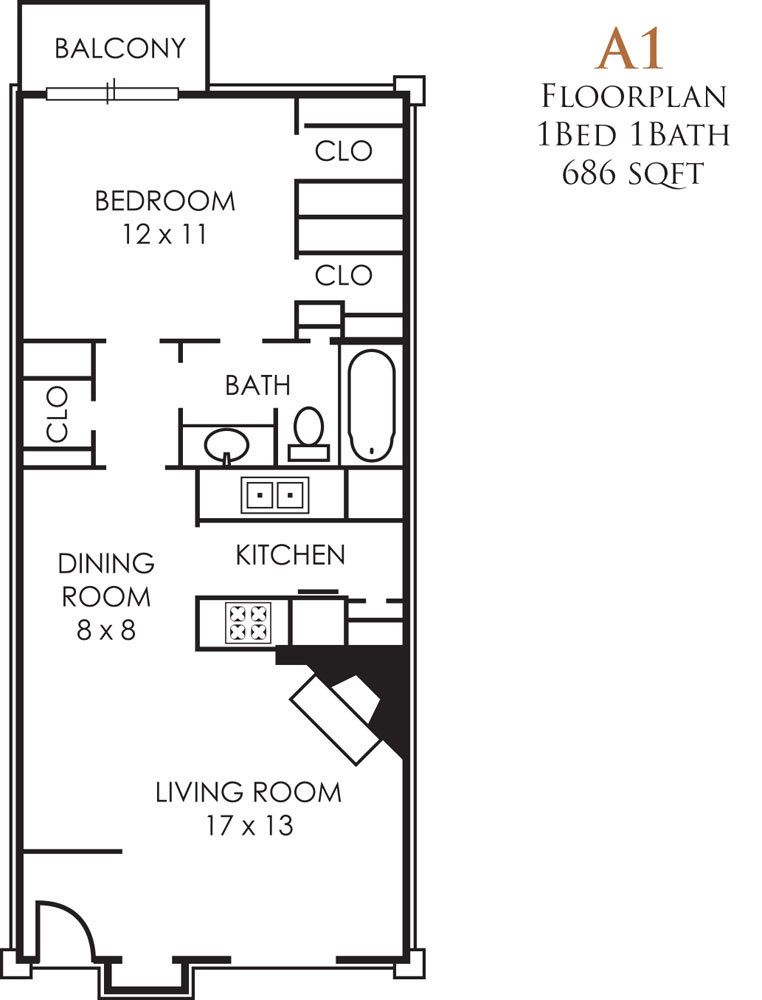 686 sq. ft. Q floor plan