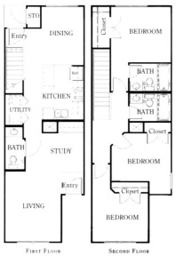 1,275 sq. ft. C1/50% floor plan
