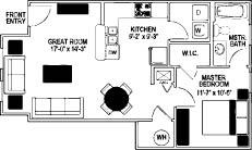 741 sq. ft. 60% floor plan