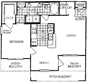 954 sq. ft. C floor plan