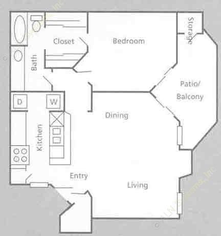 750 sq. ft. A4 floor plan