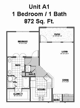 872 sq. ft. A1 floor plan