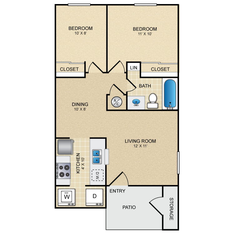650 sq. ft. La Playa floor plan