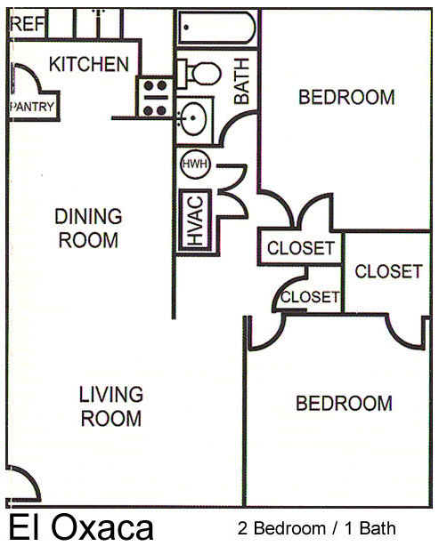 768 sq. ft. El Oxaca floor plan