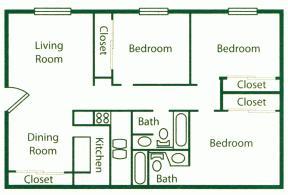 1,053 sq. ft. C1 floor plan