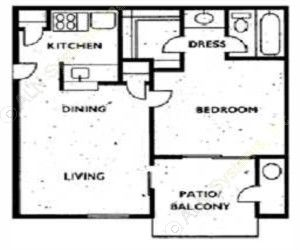 474 sq. ft. 1A1 floor plan