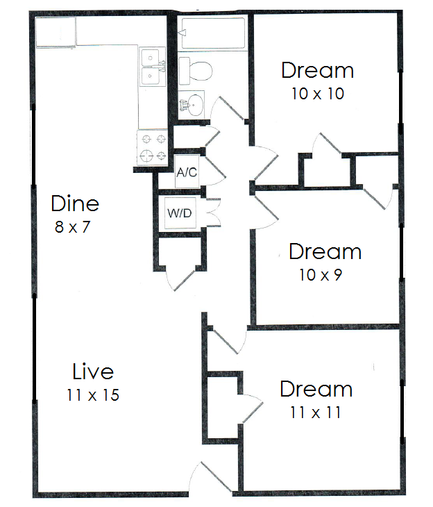 1,000 sq. ft. C2 floor plan