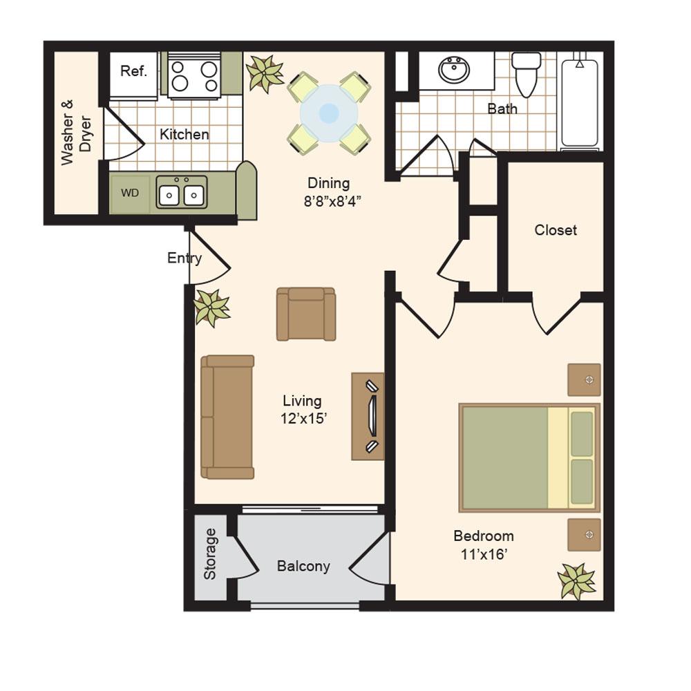 704 sq. ft. B floor plan