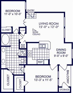 929 sq. ft. C floor plan