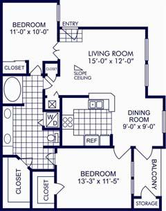 929 sq. ft. C floor plan