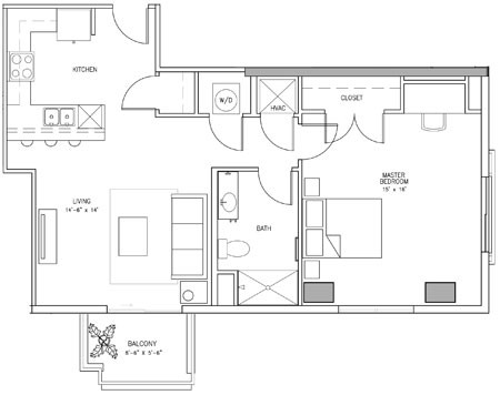 914 sq. ft. U floor plan