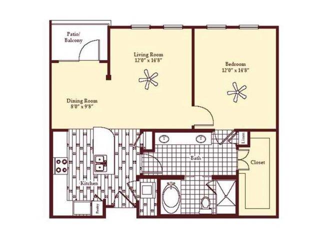 896 sq. ft. A4 floor plan