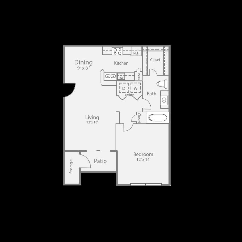 727 sq. ft. A2/SPRUCE floor plan