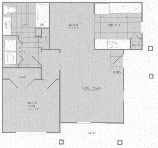 684 sq. ft. Athens 50% floor plan