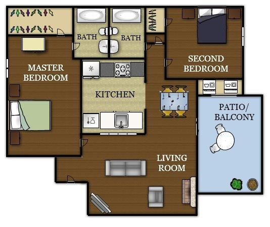 899 sq. ft. floor plan
