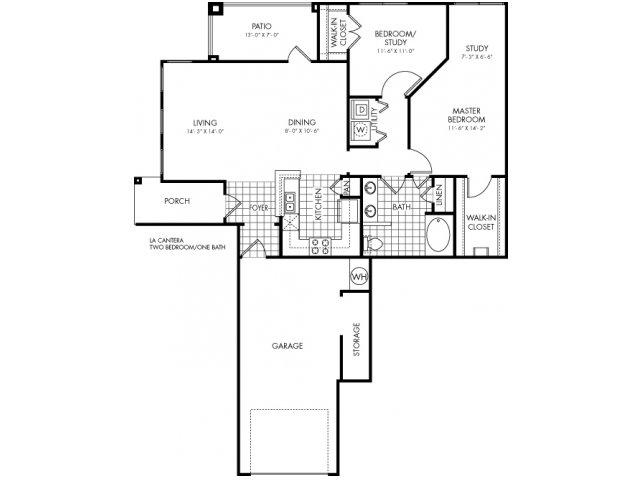 1,098 sq. ft. La Cantera floor plan