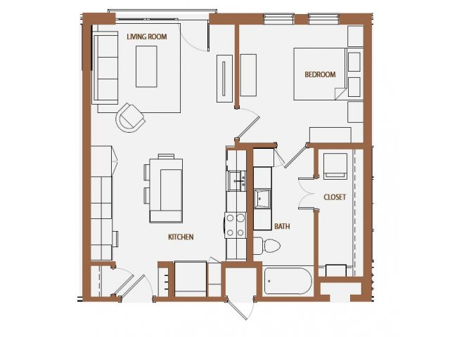 729 sq. ft. A3-5 floor plan