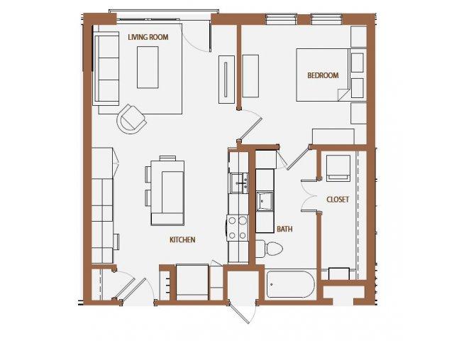 729 sq. ft. A3-5 floor plan