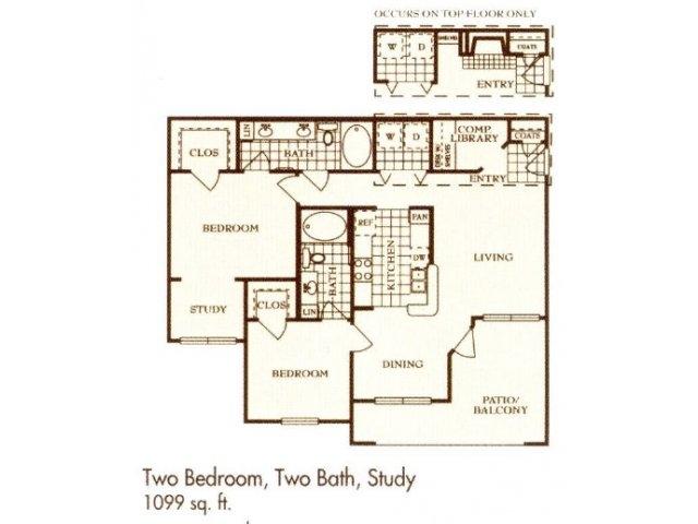 1,099 sq. ft. B floor plan
