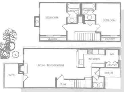 1,200 sq. ft. B2T floor plan