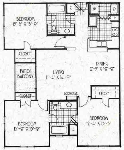 1,207 sq. ft. C1/60% floor plan