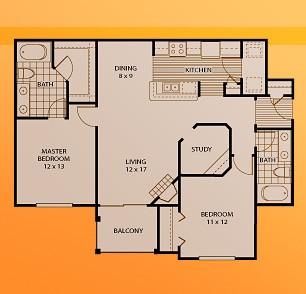 1,142 sq. ft. B3 floor plan