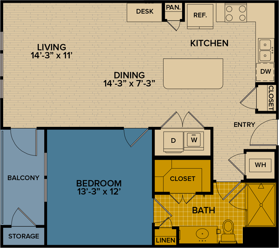 836 sq. ft. A5 floor plan