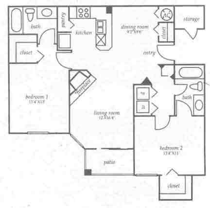 1,042 sq. ft. B2 floor plan