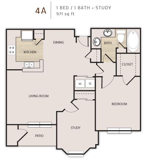 971 sq. ft. A4D floor plan