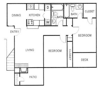 955 sq. ft. B2 floor plan