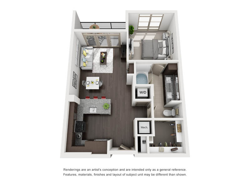 765 sq. ft. A4-1 floor plan